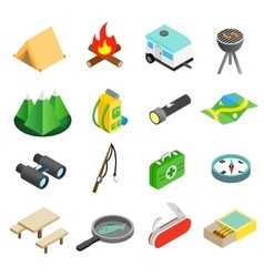 Camping isometric 3d icons vector