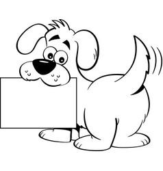 cartoon dog holding a sign vector image
