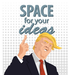 Cartoon portrait of donald trump giving a speech vector