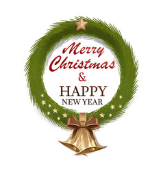 Christmas wreath of fir branches vector