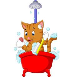 Cute cat bathing time vector