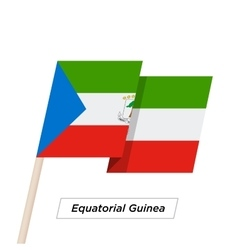 Equatorial guinea ribbon waving flag isolated on vector