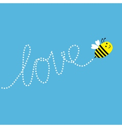 Flying bee dash word love in the sky card vector
