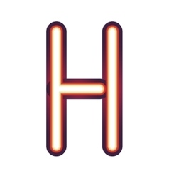 Glowing neon letter h vector