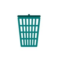 Green trash basket icon flat style vector image