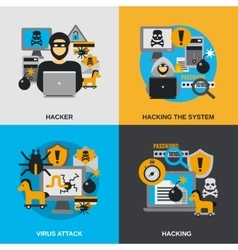 Hacker flat set vector