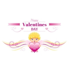 Happy valentines day border cupid character heart vector