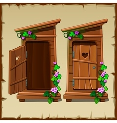 Image set of the rural toilet vector