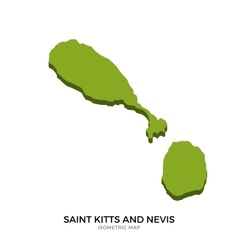 Isometric map of saint kitts and nevis detailed vector