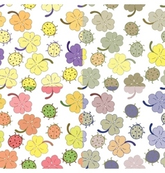 Ladybugs and clover leaves seamless pattern set vector image