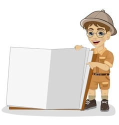 Little explorer boy in a safari outfit vector
