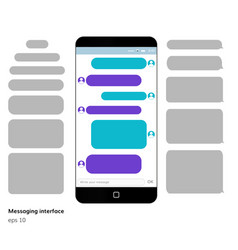 mobile phone screen messaging text boxes vector image vector image