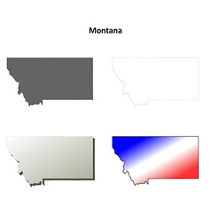 Montana outline map set vector image