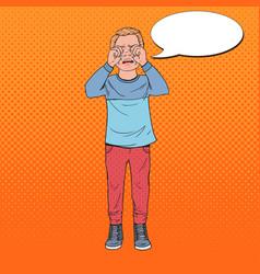 Pop art upset little boy crying sad child cry vector