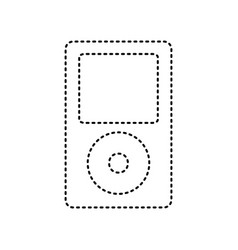Portable music device black dashed icon vector