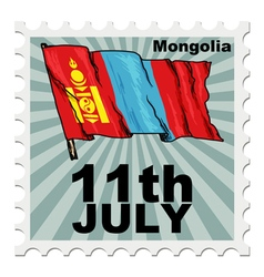 Post stamp of national day of mongolia vector