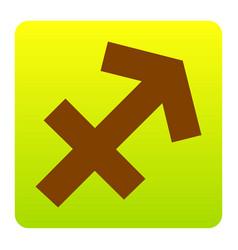 Sagittarius sign brown icon vector