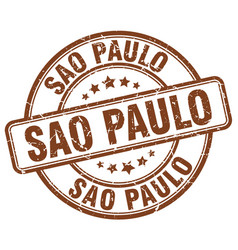 Sao paulo brown grunge round vintage rubber stamp vector
