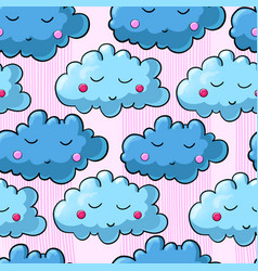 seamless pattern with cartoon clouds vector image vector image
