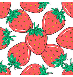 seamless pattern with red strawberries on white vector image vector image