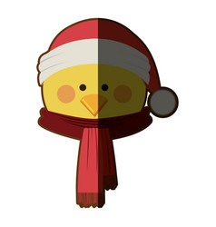 Silhouette of chicken face with scarf and vector