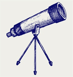 Telescope in tripod vector image