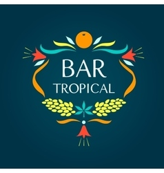 Template logo tropical bar oval frame of vector
