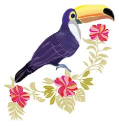 toucan embroidery bird vector image vector image