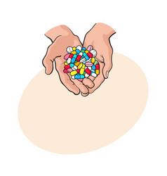 two cupped hands holding handful pile of colorful vector image vector image