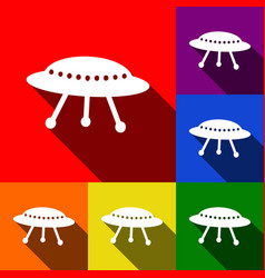 Ufo simple sign set of icons with flat vector