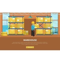 Warehouse interior banner vector