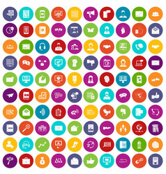 100 interaction icons set color vector