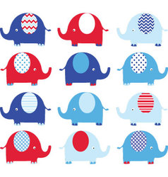 Navy blue and red cute elephant set vector