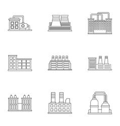 Production icons set outline style vector