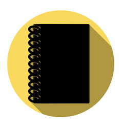 Notebook simple sign  flat black icon with vector
