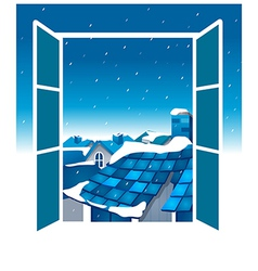 Open window blue sky vector