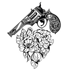Pistol tattoo and flower as a heart style vector
