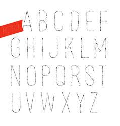 Handmade retro font blak letters on white vector