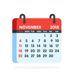 Calendar for 2018 year full month of november icon vector