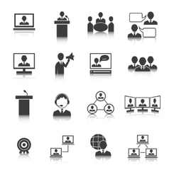Business people meeting icons set vector