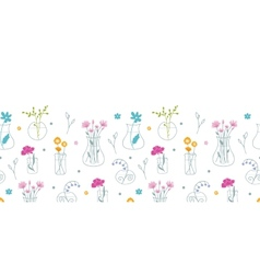 Fresh flowers in vases horizontal seamless pattern vector