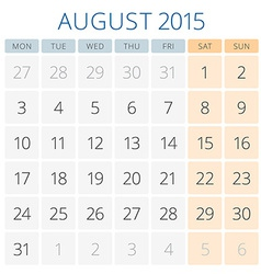 Calendar 2015 august design template vector