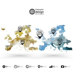 Europe map template triangle design infographics vector