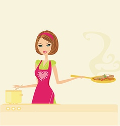 Beautiful lady cooking meat and soup vector image