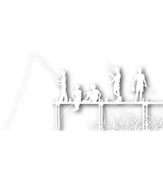 cutout fishing kids vector image