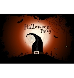 Halloween zombie party poster with hat holiday vector