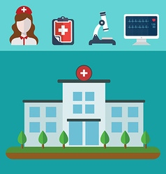 Medical icons hospital building architecture vector