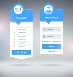 Pricing and login vector