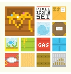 Pixel art square icons set vector