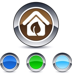 green home round button vector image